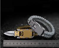 Paracord Survival Bracelet kit Folding Knife Camping Outdoor Travel Hiking Gear