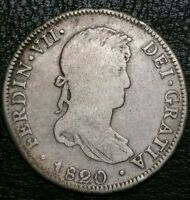 Rare 1820 JP Peru 4 Reale Milled Bust Ferdinand VII Dollar Lima Mint Silver Coin