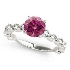 0.75 Ct Fancy Pink Purple Diamond Solitaire Ring 14k WG Valentineday Spl.Sale