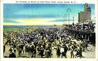 Vintage Postcard - 1937 Beach at Half Moon Hotel Long Island New York NY #2943