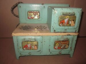 Vintage Marx Little Orphan Annie with Sandy Electric Metal Stove / Oven metal