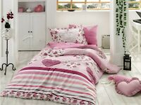 100% Organic Cotton Quilt / Doona Cover Set Pink Single Size vintage floral