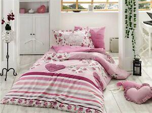 Hearts Pink Single 100% Organic Cotton 590TC Quilt / Doona / Duvet Cover Set