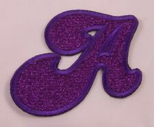 Embroidered Glitter Deep Purple Bubble Monogram Letter A Applique Patch Iron On