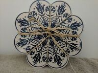 2 Made in Turkey Tile Trivet/Hot Pad Blue and White Floral Design Padded Bottom