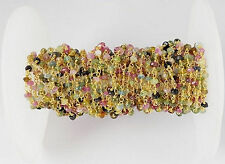 5 Feet Natural Multi Tourmaline 3-3.5mm Rondelle Faceted 24k Gold Plated Beads