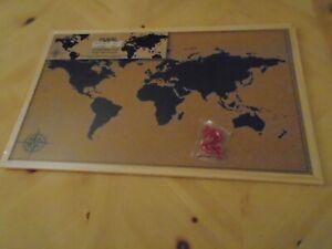 WORLD MAP ATLAS FRAMED CORK PIN MESSAGE BOARD 50 x 70cm