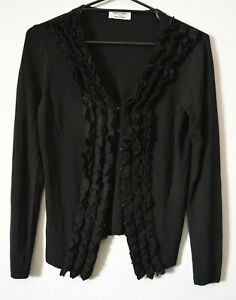 Table Eight Cardigan Size Medium Black Button Front Long Sleeve Knit