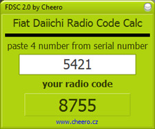 RADIO CODE FIAT DAIICHI SERIES CALC - NO LIMIT