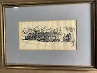 """Vintage Judi Wagner """"Home And Landscape Scene"""" Pen & Ink Drawing - Signed/Framed"""