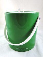 Bucket Brigade Ice Bucket by Morgan Designs Green Vinyl White Handle C. 1960's