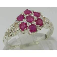 Cluster Ruby White Gold Natural Fine Rings