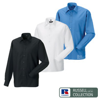 RUSSELL COLLECTION LONG SLEEVE SHIRT CLASSIC FIT COLLAR POCKET SMART MEN'S SIZES