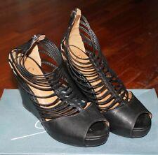 Scarpe donna con zeppa, chiusura zip, colore nero, numero 39