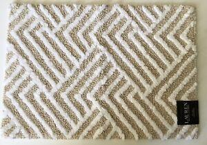 Lauren Ralph Lauren Anti-Skid Beige/White Geometric Bath Rug 17x24 Inch