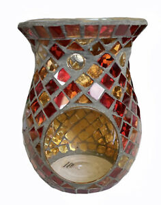 YANKEE CANDLE 2011 Mosaic Mirror Wax Tart Warmer RED ORANGE & YELLOW