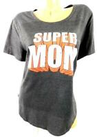 Women's gray red super mom print scoop neck short sleeve plus stretch top 2X