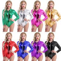 Damen Metallic Glanz Wetlook Body Catsuit Stringbody Unterwäsche Clubwear Overal