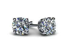 DIAMOND STUD EARRINGS 4 PRONG 1.04 CT ROUND E SI1 14K WHITE GOLD WOMAN