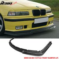 Fits 92-98 BMW E36 M3 Only 2Dr 4Dr V Style Front Bumper Lip - Carbon Fiber CF