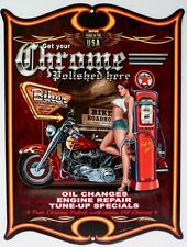BIKER ROADHOUSE GET YOUR CHROME POLISHED HERE.  All Weather Metal Sign 475x360