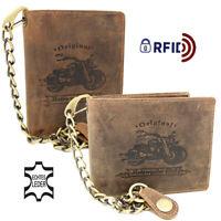 Herren Leder Bikerbörse mit Kette Biker Geldbörse Geldbeutel Portemonnaie RFID