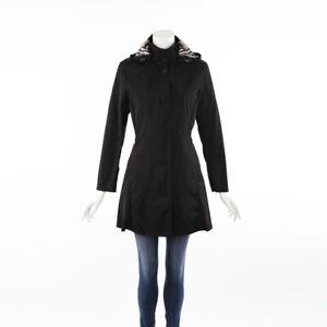 Burberry Black Hooded Trench Coat SZ S