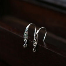 925 Sterling Silver Earrings DIY Marcasite Ear Wire French Hook Connector A1515