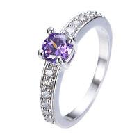 Jewelry Top Purple Amethyst Gems Ring Size 6/7/8/9 Women's 10K White Gold Filled