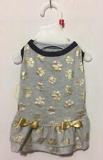 NWT Coco Lane Couture Dog Gray and Gold Paws Prints with Double Ruffle Small
