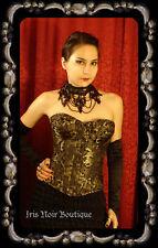 Golden Brocade Gothic Victorian Steampunk Steel Boned Corset  M