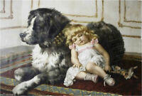 ZOPT1055 handmade paint sleeping little girl with dog oil painting art on canvas