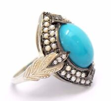 Ring Turquoise Saat Pearl & Topaz 925 Sterling Silver Antique Style Ø 17,2 MM