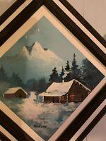 Winter world landscape original oil on wood panel painting signed framed