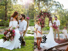 Bohemian Wedding Dress Off Shoulder Half Sleeve Boho Country Bridal Gown 2018
