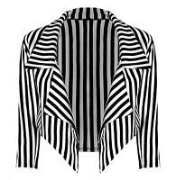 Ladies Womens Black & White Monochrome Striped Cropped Waterfall Jacket Blazer