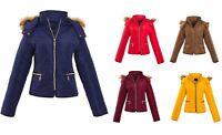 Ladies Quilted Padded Zip Up Faux Fur Hood Hooded Jacket Coat