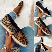 Women's Leopard Print Slip On Loafers Espadrilles Round Toe Casual Flat Shoes
