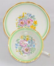 Royal Albert Art Deco Bone China Vintage Cup & Saucer Green & Floral