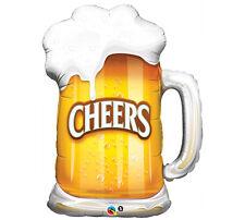 "Cheers Beer Cheer 35"" Foil Mylar Balloon Party Beer Mug Foam Overflow Helium"