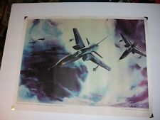 "1960s Us Air Force Poster 20x15"" F-105s Home For Dinner Kadena Afb Reynold Brown"