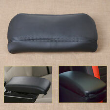 Black Leather Center Console Lid Armrest Cover Skin For 2003-2007 Honda Accord