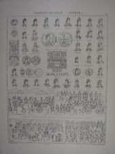 1881 LARGE GERMAN PRINT - THEODOSIUS THE GREAT GOTHS CONSTANTINOPLE COINS