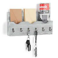 Wall-Mounted Wood Letter Rack Key Holder with 3-Slot 6 Hooks Entryway Bedroom