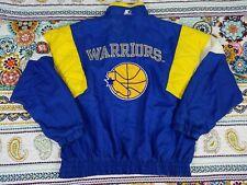 Golden State Warriors Starter Vintage NBA Windbreaker Jacket Sz L 90s Big Logo