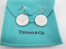 Tiffany & Co Return to Tiffany Silver Round Tag Circle Dangling Dangle Earrings