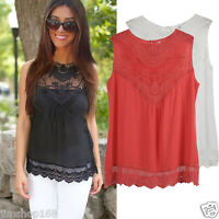 UK Fashion Women Summer Vest Top Sleeveless Blouse Casual Tank Tops Lace T-Shirt