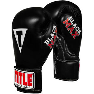 Title Boxing Classic Max Hook and Loop Boxing Gloves - Black