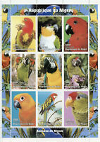 Niger 1998 MNH Parrots Animals of World Macaws 9v M/S Parrot Birds Stamps
