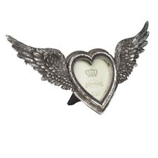 Alchemy Gothic Winged Heart Antique Silver Finished Resin Photo Frame 36cm